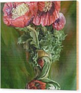 Poppies In A Poppy Vase Wood Print