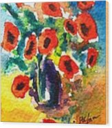 Poppies In A Vase Wood Print