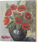 Poppies In A Vase Wood Print