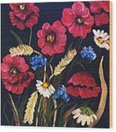 Poppies In Oils Wood Print