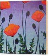Poppies In The Sky II Wood Print