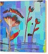 Poppies On Blue 3 Wood Print