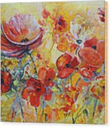 Poppies On Fire Wood Print