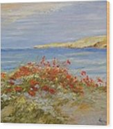 Poppies On The Beach Wood Print
