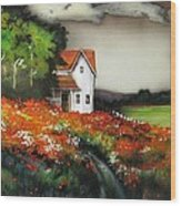 Poppies On The Old Homestead Wood Print by Kendra Sorum