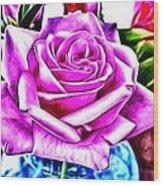 Poppin Purple Rose Wood Print