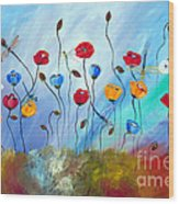 Poppy And Dragonfly Wood Print