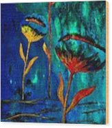 Poppy At Night Abstract 1 Wood Print