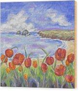 Poppy Beach Wood Print