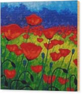 Poppy Corner II Wood Print by John  Nolan