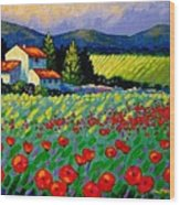 Poppy Field - Provence Wood Print