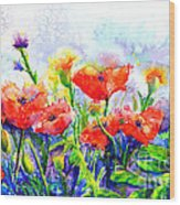 Poppy Fields Wood Print