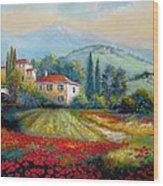 Poppy Fields Of Italy Wood Print