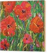 Poppy Frenzy Wood Print by Barbara Pirkle