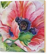 Poppy In The Pink Wood Print