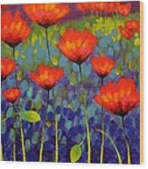 Poppy Meadow   Cropped 2 Wood Print