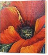 Poppy Red Wood Print