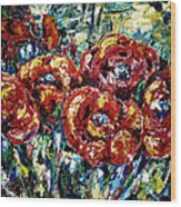 Poppy Red Flowers Wood Print