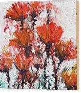 Poppy Splashes Wood Print