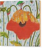 Poppy With Piper  In The Rain Wood Print