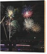 Pops On The River Fireworks Wood Print