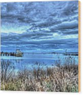 Poquoson Yacht On Stormy Morning Wood Print