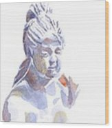 Porcelain Maiden In Watercolor Wood Print by Kip DeVore