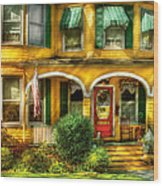 Porch - Cranford Nj - A Yellow Classic  Wood Print