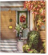 Porch - Cranford Nj - Simply Pink Wood Print by Mike Savad