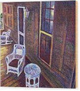 Porch In Golden Light Wood Print