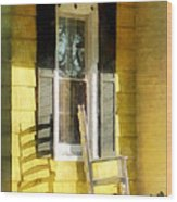 Porch - Long Afternoon Shadow Of Rocking Chair Wood Print