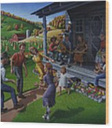 Porch Music And Flatfoot Dancing - Mountain Music - Appalachian Traditions - Appalachia Farm Wood Print