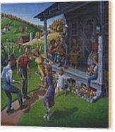 Porch Music And Flatfoot Dancing - Mountain Music - Farm Folk Art Landscape - Square Format Wood Print