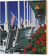 Porch Of The Grand Hotel, Mackinac Wood Print