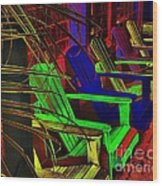 Neon Porch Perches Wood Print