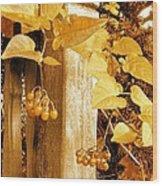 Porch Post Berries Glow Wood Print