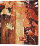 Porch Post Berries Rust Wood Print