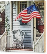 Porch With Flag And Wicker Chair Wood Print