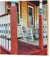 Porch With Red White And Blue Railing Wood Print by Susan Savad