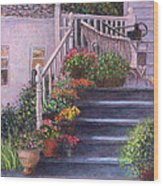 Porch With Watering Cans Wood Print