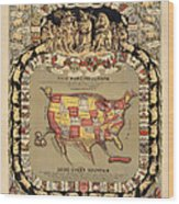Pork Map Of The United States From 1876 Wood Print