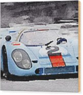 Porsche 917 Gulf Watercolor Wood Print