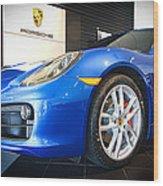 Porsche Cayman S In Sapphire Blue Wood Print