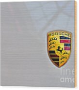 Porsche Emblem Wood Print by Andres LaBrada