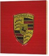 Porsche Emblem Red Hood Wood Print