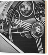 Porsche Steering Wheel Emblem -2043bw Wood Print