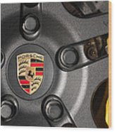 Porsche Vorsteiner Wheel Logo Wood Print