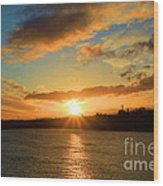 Port Angeles Sunburst Wood Print