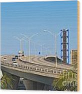 Port Boulevard Bridge Miami Wood Print