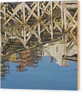 Port Clyde Maine Lobster Traps Reflecting In Water Wood Print